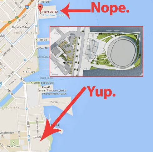 "Real estate blog ""Linked-in"" graphically illustrates the Warriors petulant surrender to community concerns by switching the location of their new arena from prime waterfront property to the backwaters of Mission Bay. ""Move along, move along now. No story here."""